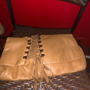 Vintage butter soft Genuine leather corset clutch